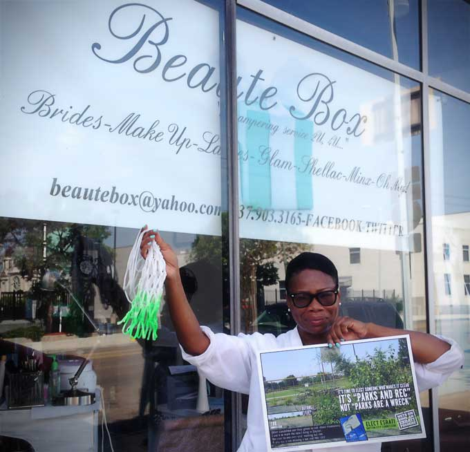 Lisa Scott of Beaute Box in Downtown Dayton supports David Esrati for Dayton City Commission