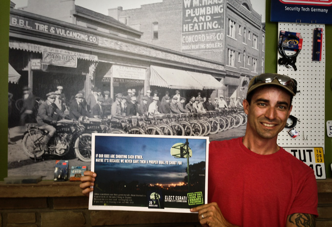 Photo of Seth martin of Boogie's Green Machines on Brown St in Dayton Ohio